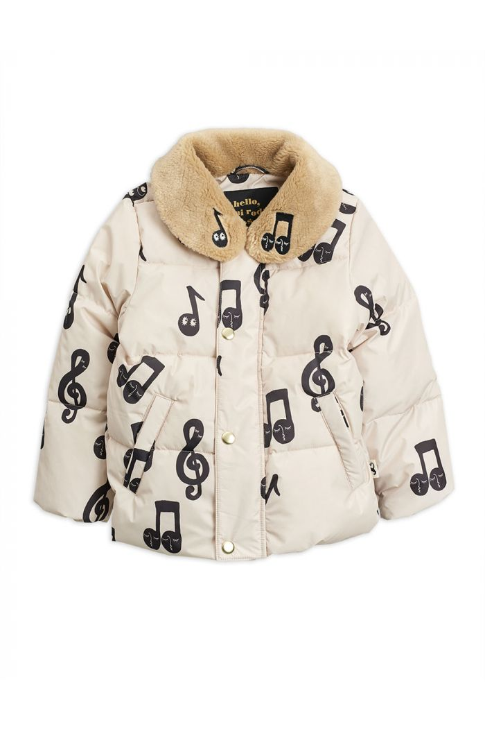 Mini Rodini Notes puffer jacket Offwhite_1