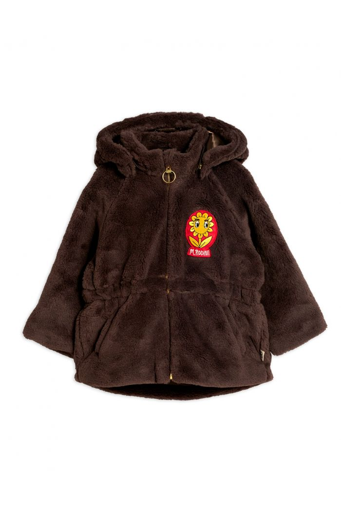 Mini Rodini Faux fur parka Brown_1