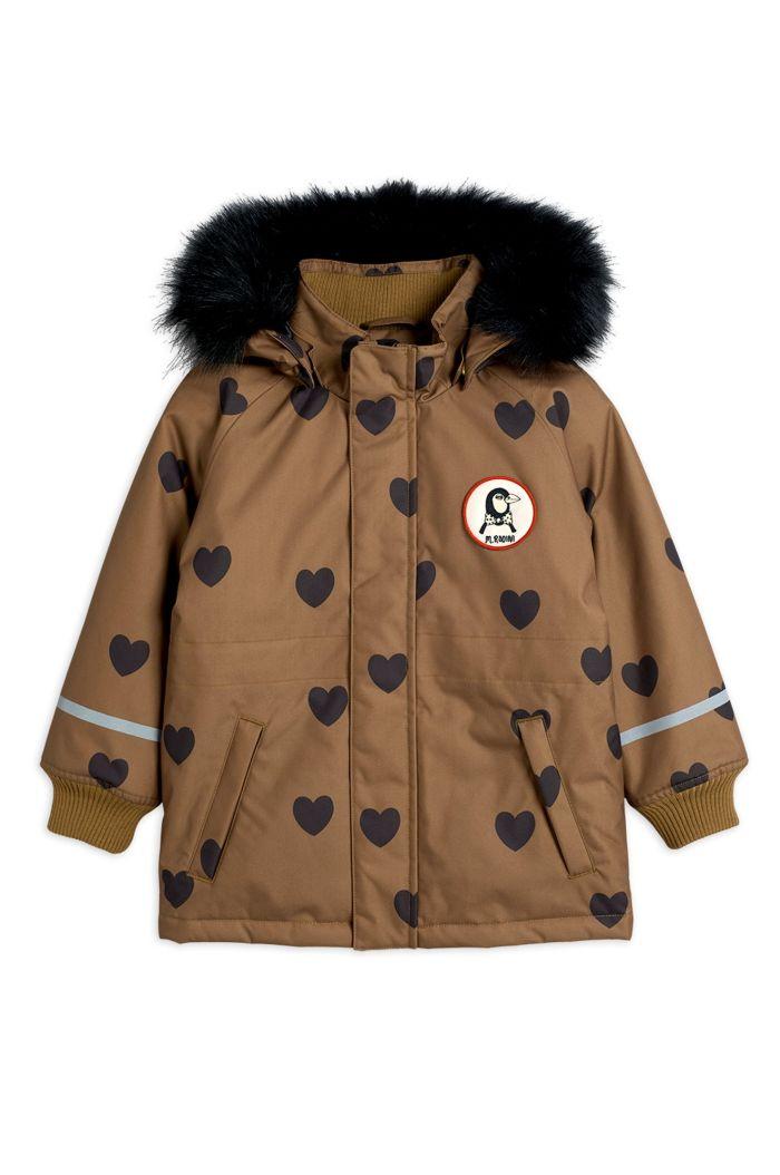 Mini Rodini K2 hearts parka Brown_1