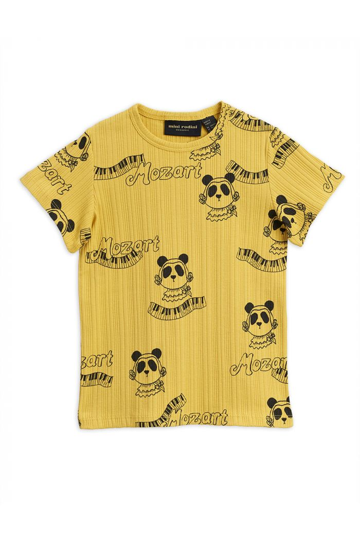 Mini Rodini Mozart all-over print short sleeve tee Yellow_1