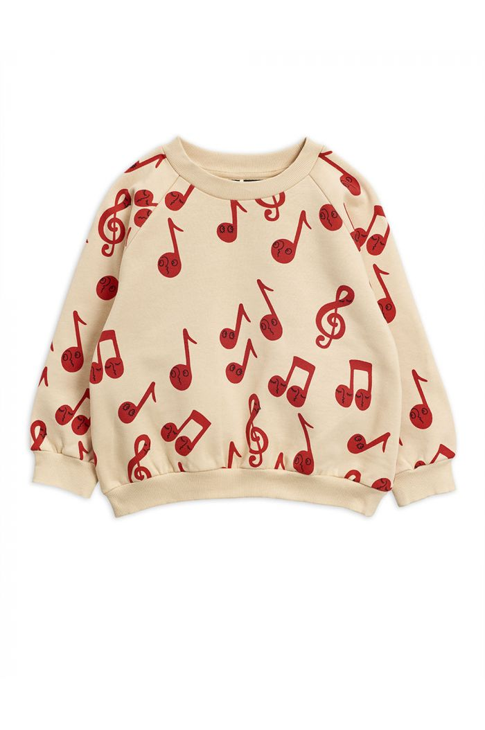 Mini Rodini Notes all-over print sweatshirt Beige_1