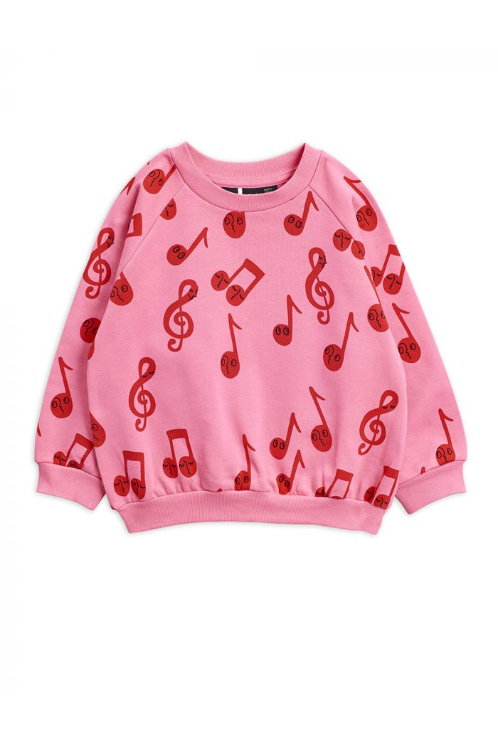 Mini Rodini Notes all-over print sweatshirt Pink_1