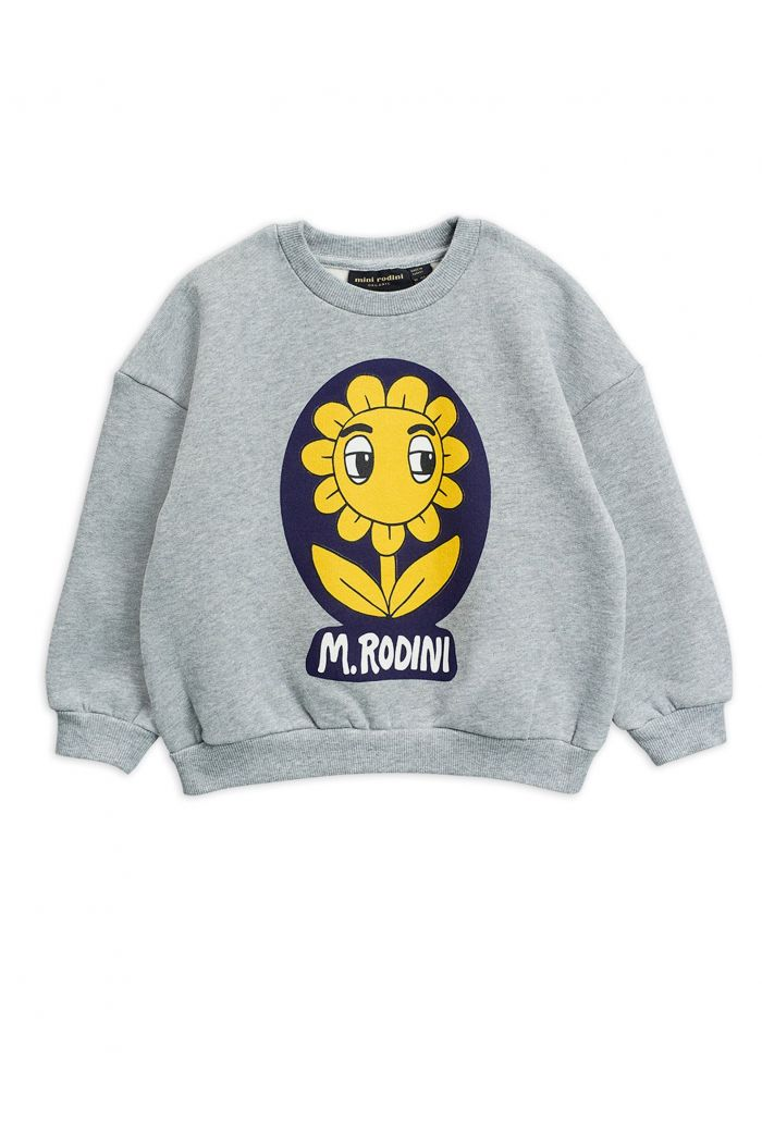 Mini Rodini Flower single print sweatshirt Grey melange_1
