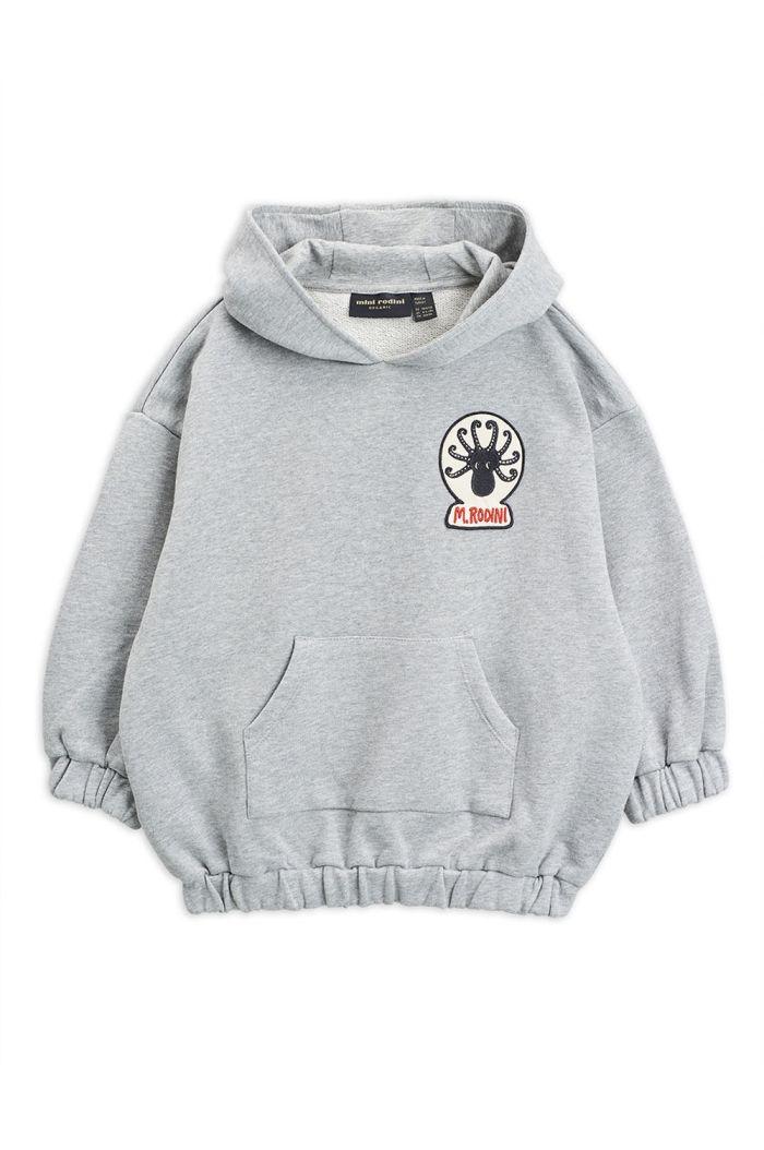 Mini Rodini Octopus patch hoodie Grey melange_1