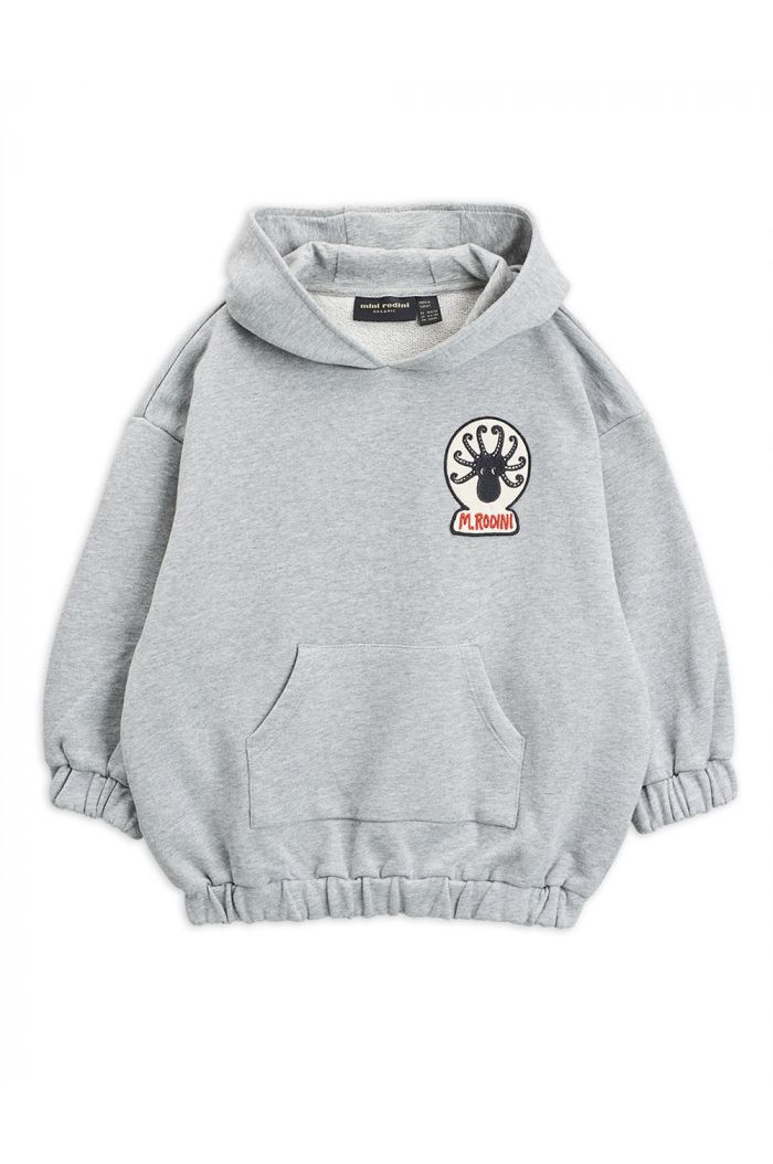 Mini Rodini Octopus patch hoodie Grey melange_1