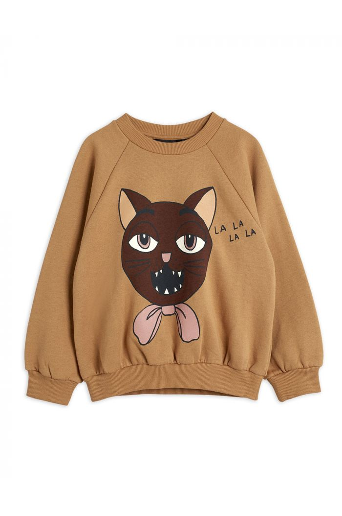 Mini Rodini Cat choir single print sweatshirt Beige_1