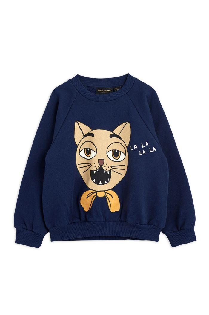 Mini Rodini Cat choir single print sweatshirt Navy_1