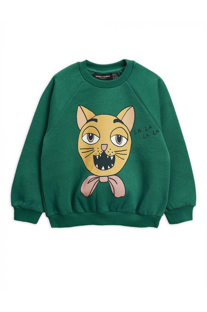 Mini Rodini Cat choir single print sweatshirt Green_1