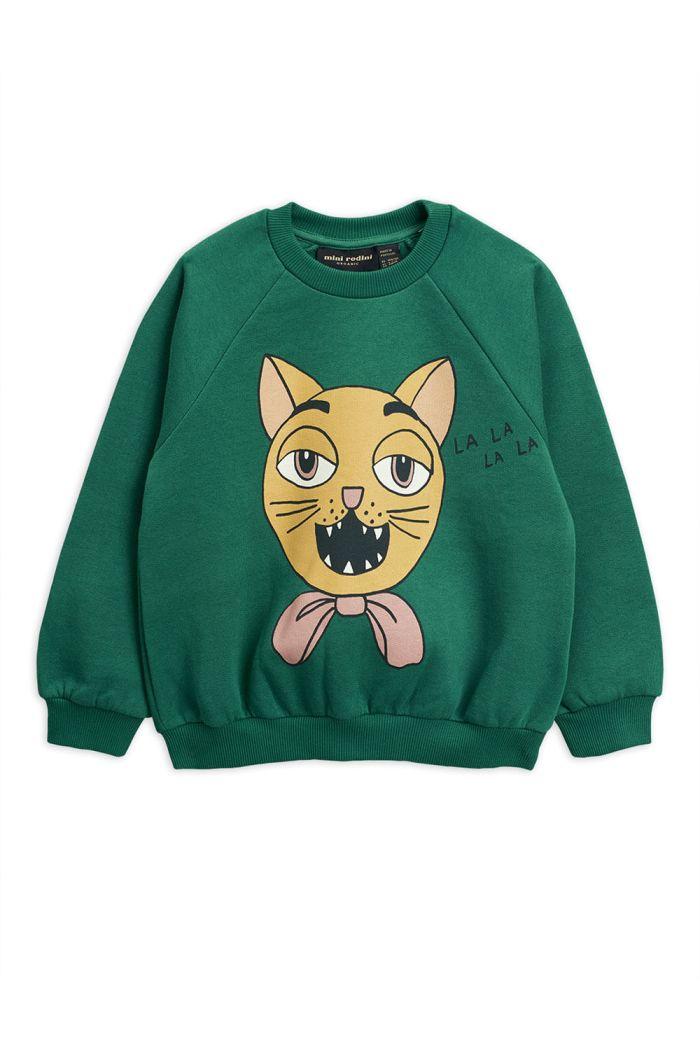 Mini Rodini Cat choir single print sweatshirt Green_1