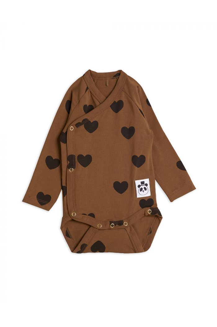 Mini Rodini Hearts wrap body TENCEL Brown_1