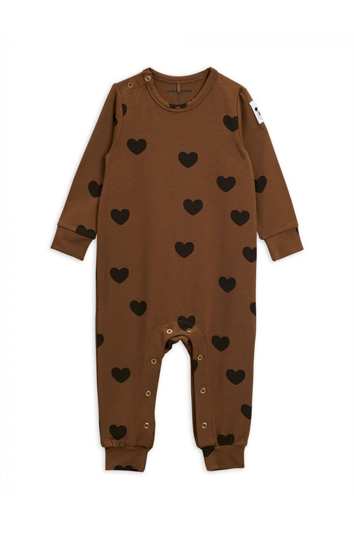 Mini Rodini Hearts jumpsuit TENCEL Brown_1