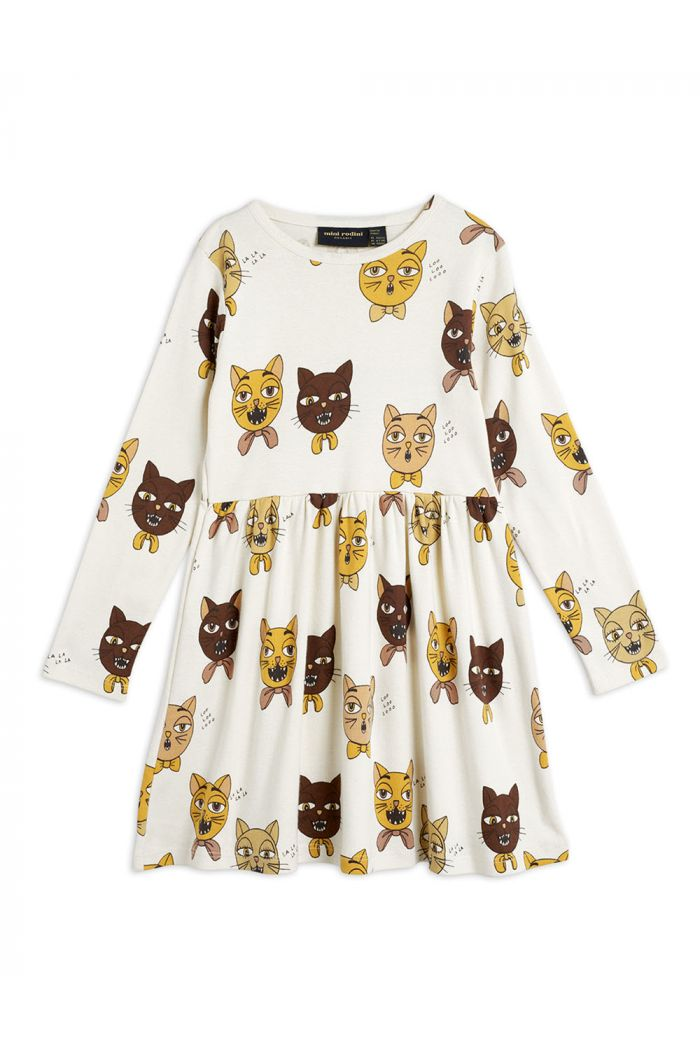 Mini Rodini Cat choir all-over longsleeve dress Offwhite_1