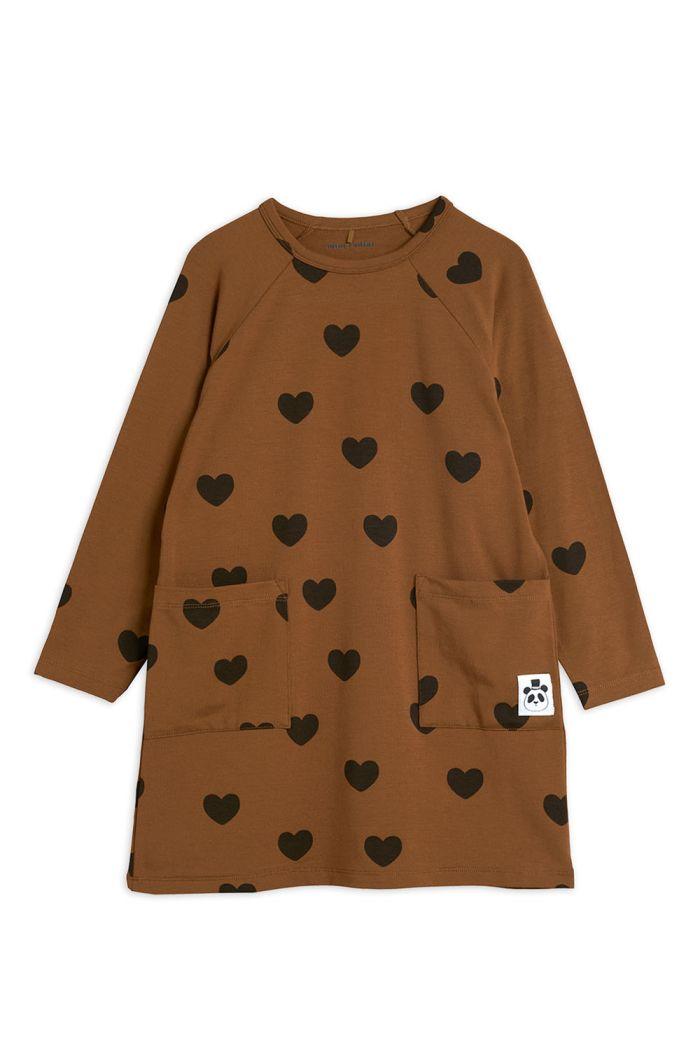 Mini Rodini Hearts longsleeve dress TENCEL Brown_1