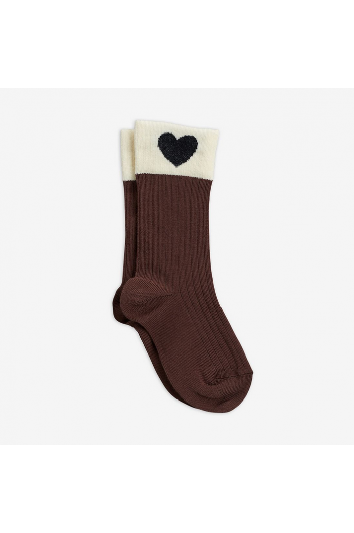 Mini Rodini Heart socks Brown_1