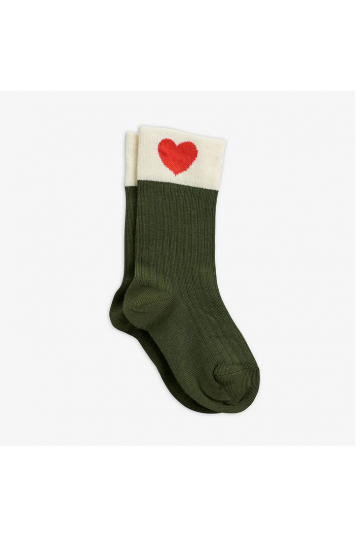 Mini Rodini Heart socks Green_1