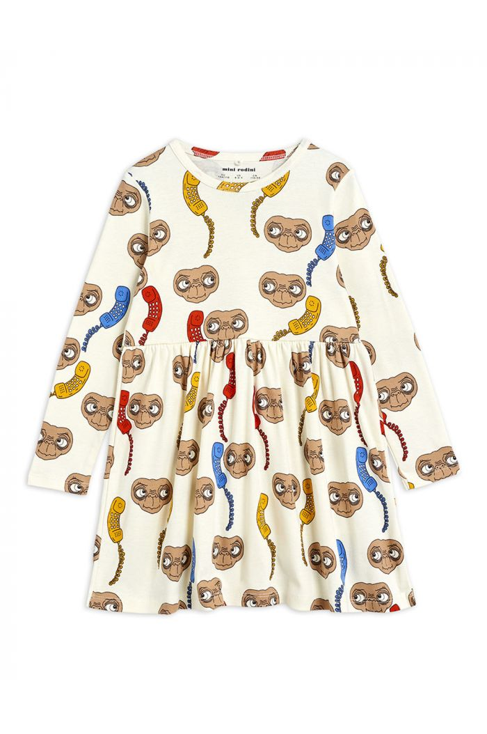 Mini Rodini E.T. all-over print longsleeve dress Offwhite_1