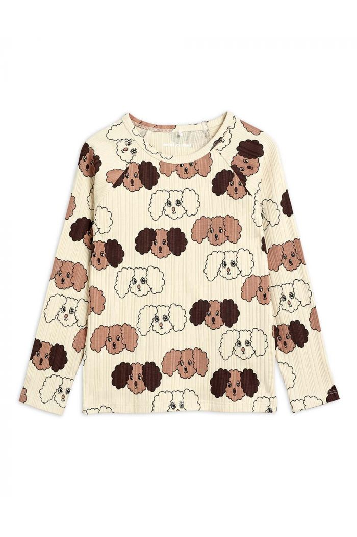 Mini Rodini Fluffy dog all-over print longsleeve Beige_1