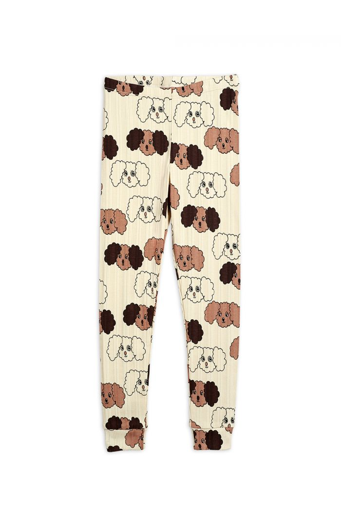 Mini Rodini Fluffy dog all-over print leggings Beige_1