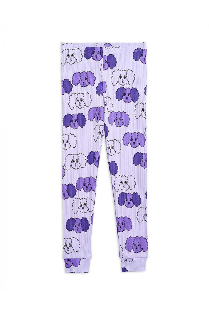 Mini Rodini Fluffy dog all-over print leggings Purple_1