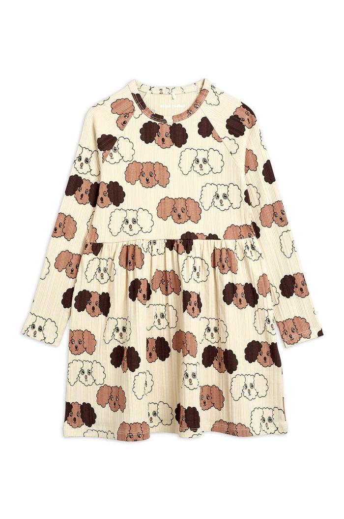Mini Rodini Fluffy dog all-over print dress Beige_1
