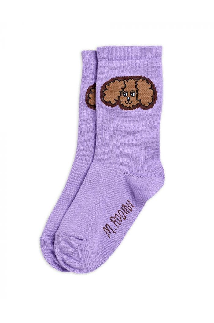 Mini Rodini Fluffy dog socks Purple_1