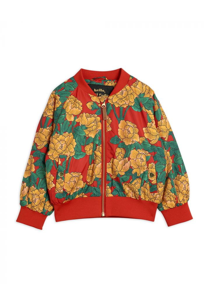 Mini Rodini Peonies baseball jacket Red_1