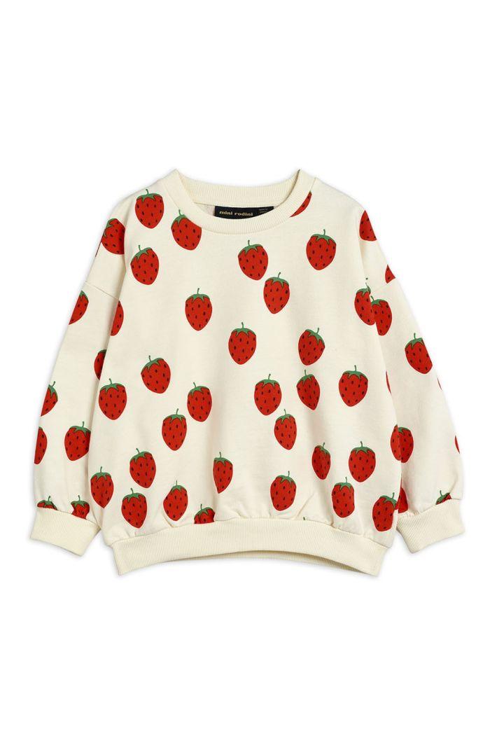 Mini Rodini Strawberry all-over print sweatshirt Offwhite_1