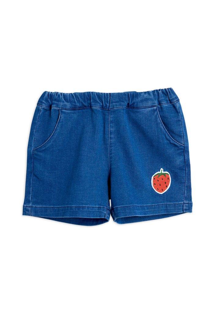 Mini Rodini Denim strawberry shorts Blue_1