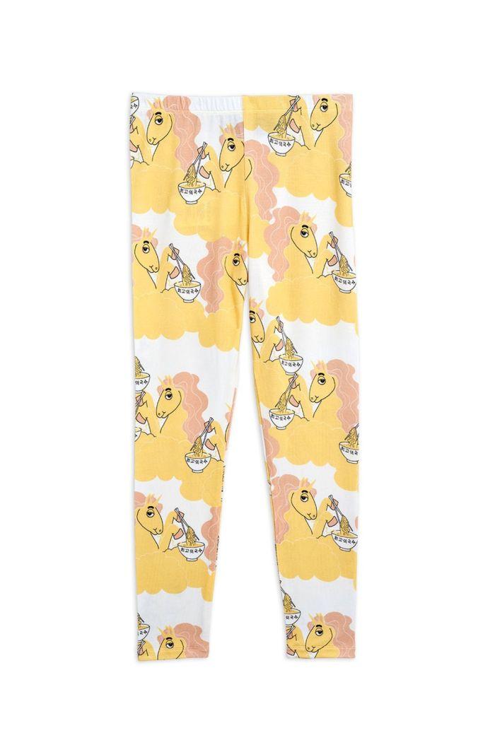 Mini Rodini Unicorn noodles all-over print leggings Yellow_1