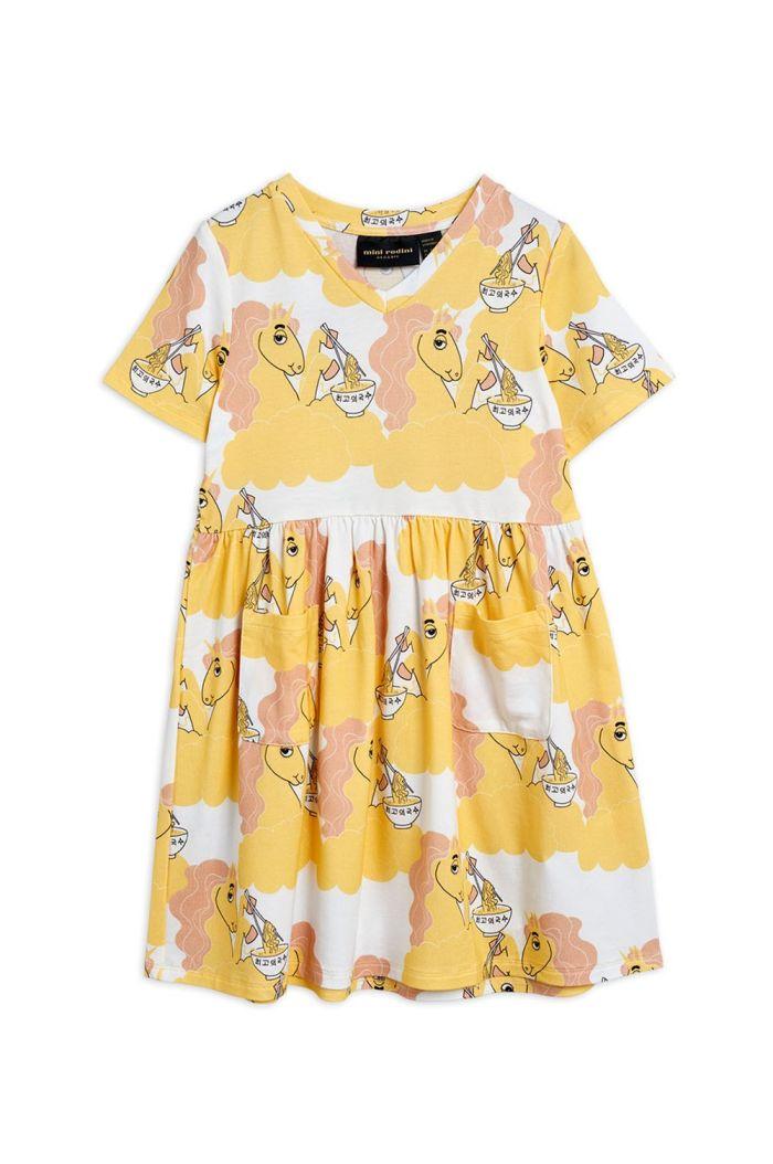 Mini Rodini Unicorn noodles all-over print shortsleeve dress Yellow_1