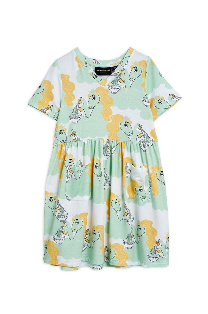 Mini Rodini Unicorn noodles all-over print shortsleeve dress Green_1
