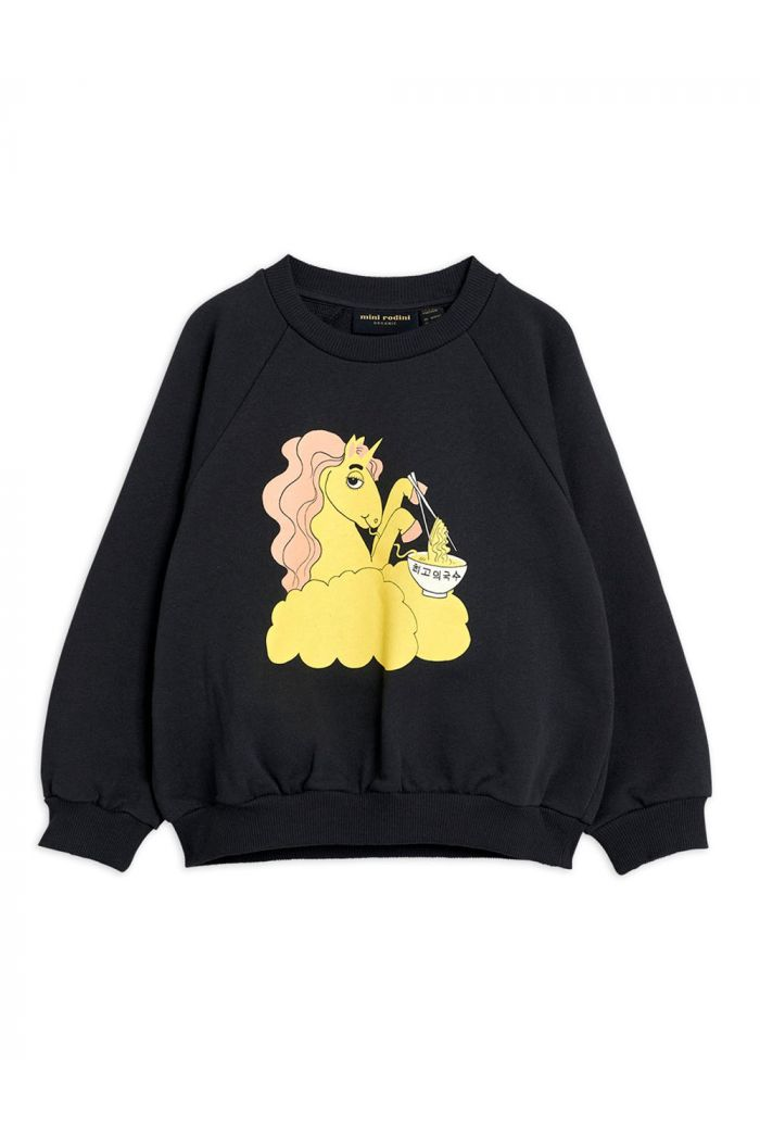 Mini Rodini Unicorn noodles single print sweatshirt Black_1