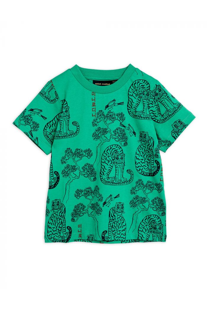 Mini Rodini Tigers all-over print shortsleeve tee Green_1