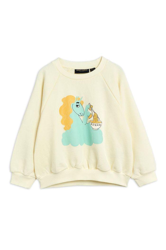 Mini Rodini Unicorn noodles single print sweatshirt Offwhite_1