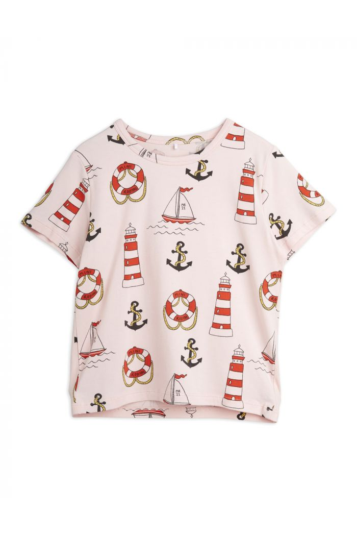 Mini Rodini Lighthouse all-over print shortsleeve Pink_1