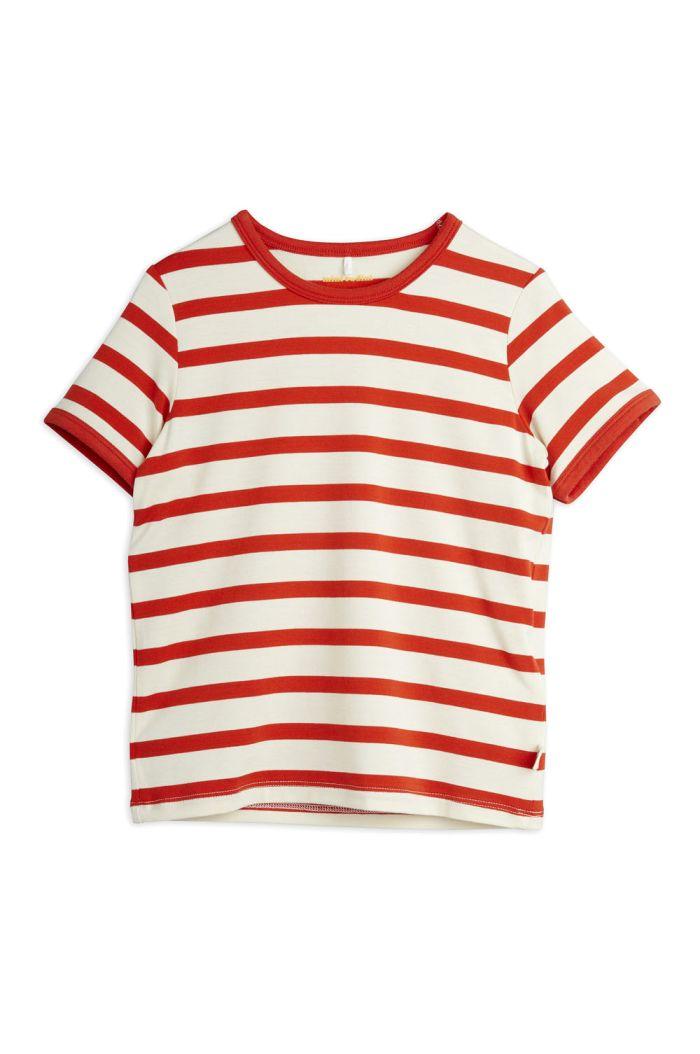 Mini Rodini Stripe shortsleeve tee Red_1