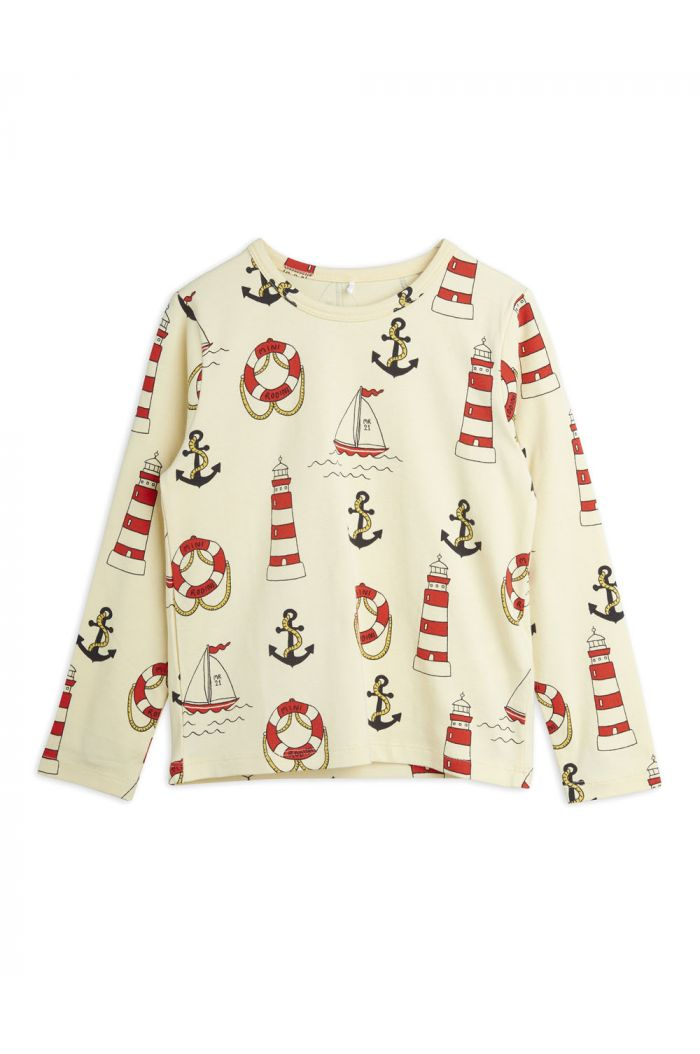 Mini Rodini Lighthouse all-over print longsleeve Yellow_1
