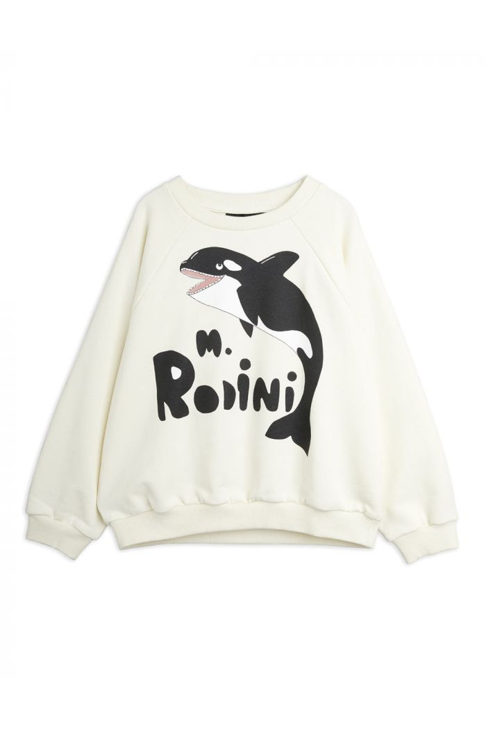 Mini Rodini Orca single print sweatshirt Offwhite_1