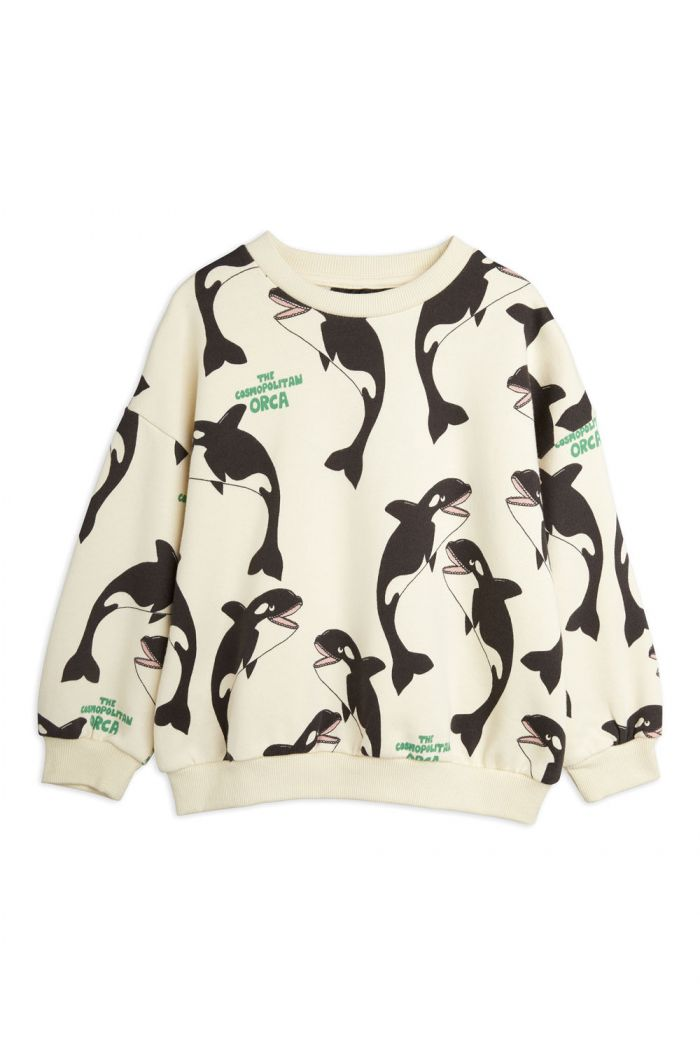 Mini Rodini Orca all-over print sweatshirt Offwhite_1