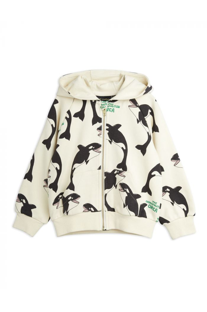 Mini Rodini Orca all-over print zip hoodie Offwhite_1