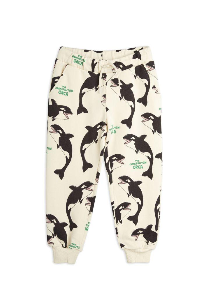 Mini Rodini Orca all-over print sweatpants Offwhite_1
