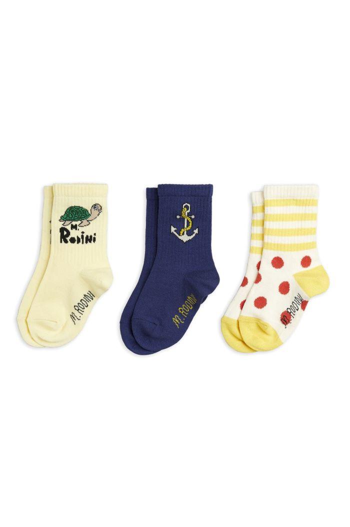 Mini Rodini Anchor 3 pack socks Multi_1