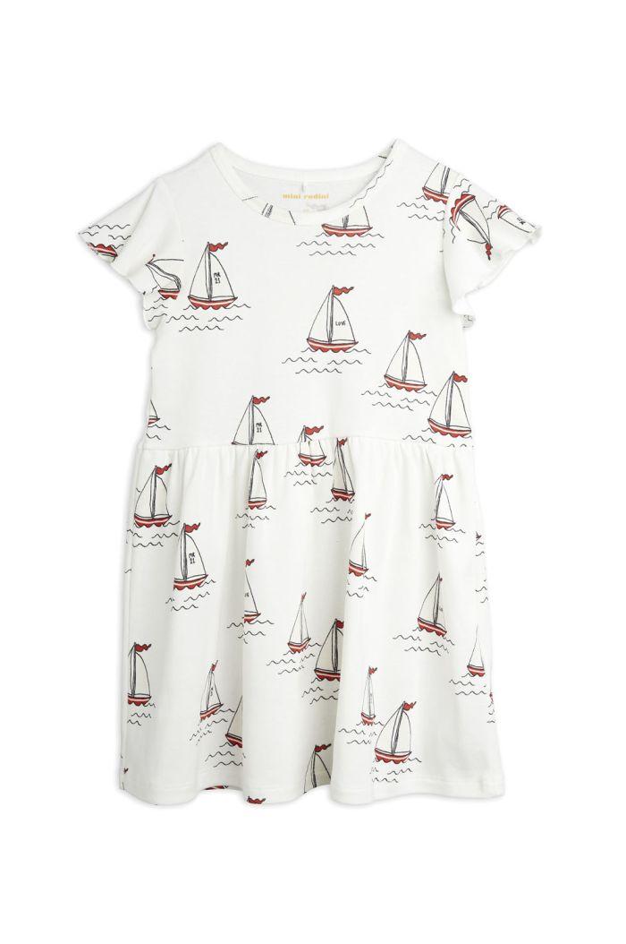 Mini Rodini Sailing boats all-over print wingdress White_1