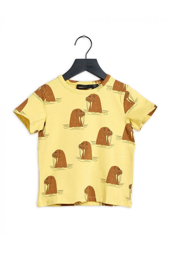 Mini Rodini Walrus all-over print shortsleeve tee Yellow_1