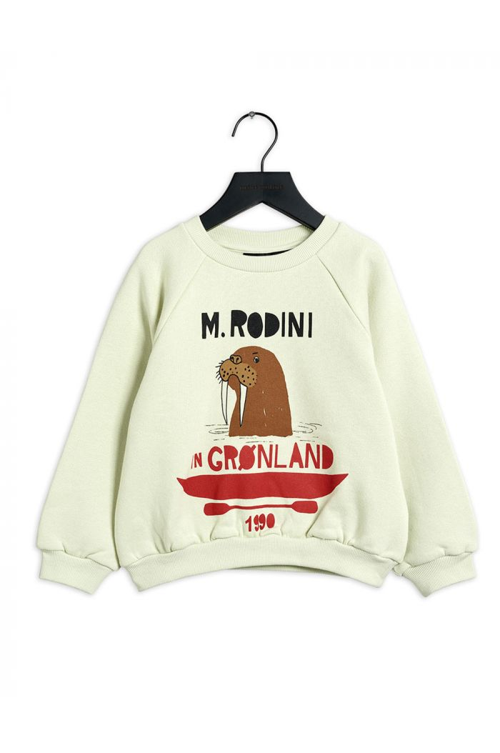 Mini Rodini Walrus single print sweatshirt Light green_1