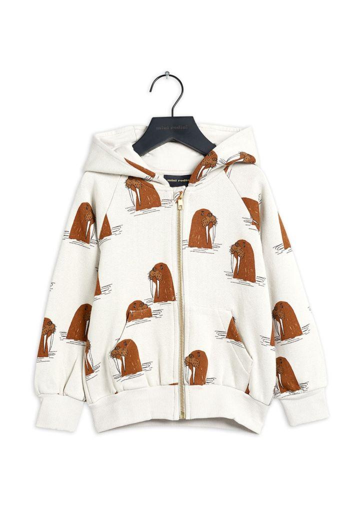 Mini Rodini Walrus all-over print zip hoodie Grey_1