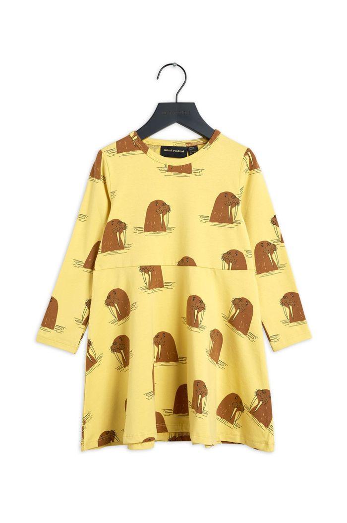 Mini Rodini Walrus all-over print longsleeve dress Yellow_1
