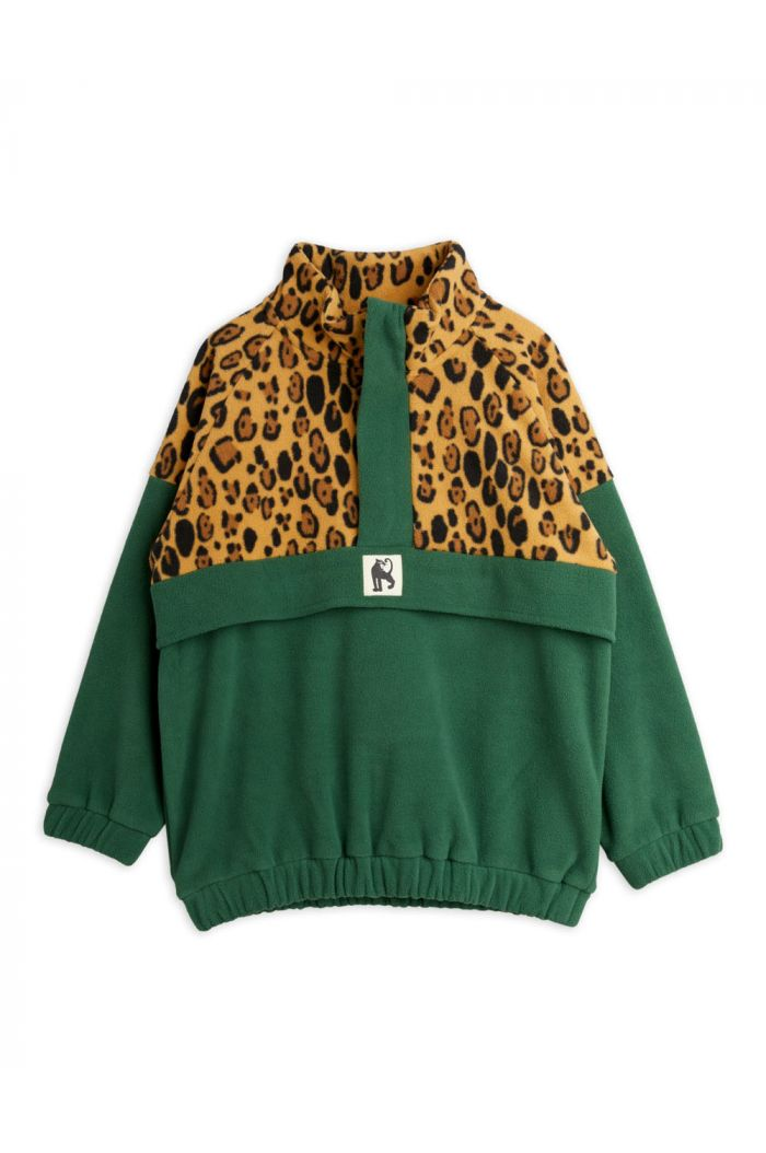 Mini Rodini Fleece zip pullover Green_1