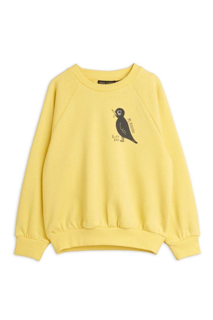 Mini Rodini Blackbird single print sweatshirt Yellow_1