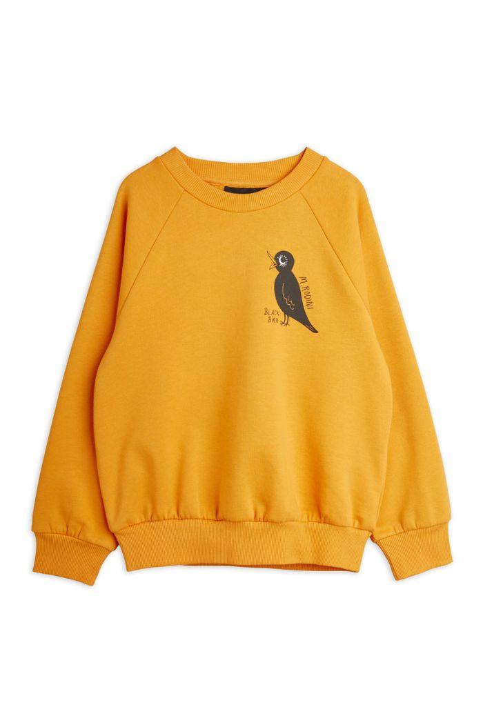 Mini Rodini Blackbird single print sweatshirt Orange_1